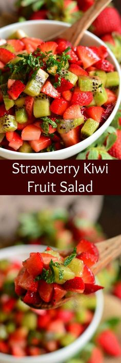 Strawberry Kiwi Fruit Salad. This simple fruit salad is made with fresh strawberries, kiwi, honey, and mint. It's a perfect fresh touch of sweetness to your summer table or a refreshing dessert with a scoop of vanilla ice cream. #fruitsalad #strawberrykiwi #summerdessert