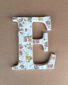 Letter E, Initial Letters, Wooden Letters, Handmade Wooden, Handmade Gifts, Broken China, Christening Gifts, Enamel Paint, White Enamel