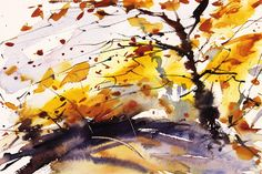 Autumn Trees. Expressive semi abstract watercolour by Adrian Homersham.