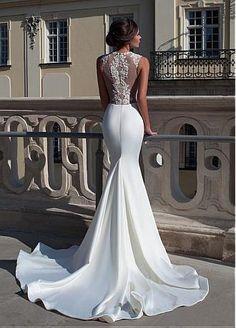 comprar Vestido elegante de la boda de tul y satén de la sirena con abalorios apliques de encaje de descuento en Dressilyme.com