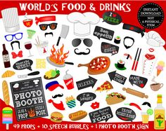 PRINTABLE Food Photo Booth Props–Chef Photo Props-Food Props-World's Food-Kitchen Props-Pizza Props-Sushi Props-Fast Food-Instant Download