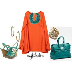 """Orange Cape Dress"" by angkclaxton on Polyvore"