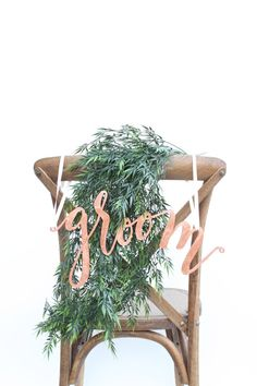 """Wedding Chair Signs: genuine copper leaf """"bride"""" and """"groom"""" calligraphy pair"""