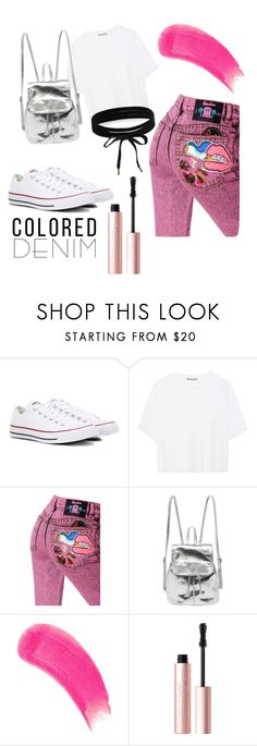 """""""Colored denim"""" by saraasecci on Polyvore featuring Converse, Vince, Marc Jacobs, Sisley, Too Faced Cosmetics and Boohoo"""