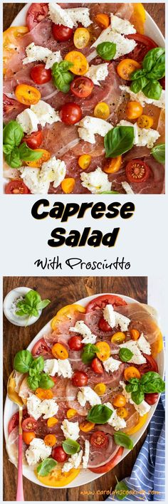 Caprese salad just got even better! This caprese has two types of tomatoes and a layer of prosciutto for maximum deliciousness! Pasta Dinner Recipes, Easy Pasta Recipes, Healthy Salad Recipes, Easy Meals, Delicious Sandwiches, Fresh Mozzarella, Classic Italian, Prosciutto, Sandwich Recipes