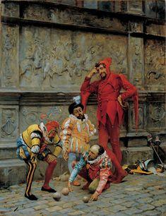 """""""Jesters Playing Cochonnet"""" (1868) by Eduardo Zamacois y Zabala"""