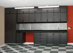 Full wall cabinets for garage. would be awesome for our garage! Garage Studio, Garage Shed, Garage Plans, Garage Workshop, Car Garage, Cool Garages, Custom Garages, Garage Storage Systems, Garage Organization