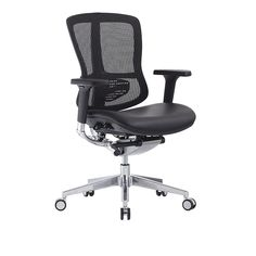 Black mesh back leather cushion no headrest rotating air conditioned luxury office chair with 60mm pu casters