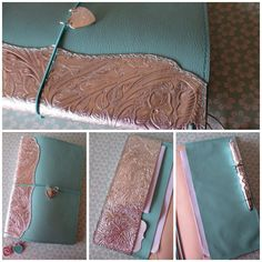 Tiffany inspired large moleskine size Midori style traveler's notebook with silver embossed leather spine detail and pockets. Paperflower.com.au #paperflower #paperflowerds #paperflowerdesignstudio #bypaperflower #planner #journal #midori #fauxdori #glendori #tiffanyandco
