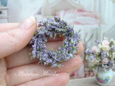 Miniature Dollhouse Lavender Wreath by Minicler on Etsy