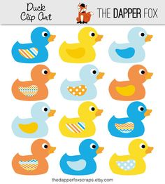 stationery paper baby shower rubber ducks | ... and Orange - INSTANT DOWNLOAD - Baby shower clipart rubber ducky