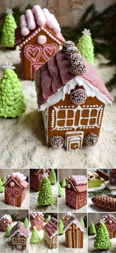 Christmas Gingerbread Houses of Biscuits | 24 Gingerbread House Ideas | Cool And Fun Homemade Treats For Christmas by Pioneer Settler at http://pioneersettler.com/gingerbread-house-ideas/