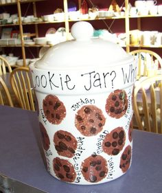 cookie jar with fingerprint chips. Perhaps a plate for grandma for mothers day. Too cute