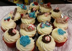 Baby shower cupcakes - Cupcakes for a baby shower for twins.  One is a girl and one a boy.