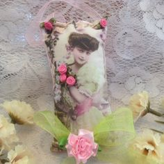 6 inch lavender scented sachet with image of a  by cindysvictorian