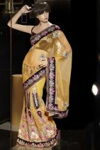 Mustard Yellow Net Embroidered Style Saree