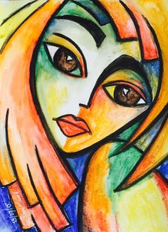 Watercolor on paper, Abstract Face Art, Abstract Portrait, Pinturas Art Deco, Sunflower Pictures, African Art Paintings, Africa Art, Aesthetic Painting, Arte Pop, Arte Floral