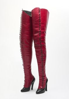 Boots, 1920s. Red leather with black leather trim. Maniatis Bottier (French, founded 1920).