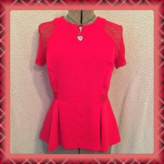 SALE20% offPeplum Top It's an ultra-flattering peplum top, with crochet sleeves and side-waist. Open zipper on the back.  Used twice.  True to size.  If you have any questions please feel free to ask and also if need be, ask for more pictures...  Dynamite Tops Blouses