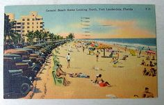 People Old Cars at The Beach Fort Lauderdale Florida 1950 Postcard Scene | eBay