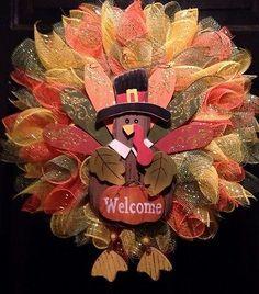 Fall Wreath Thanksgiving Autumn Turkey Deco Mesh in Home & Garden, Holiday & Seasonal Décor, Thanksgiving & Fall | eBay