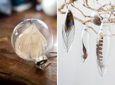 glazen kerstbal met veren, kerstbal van glas versieren, lege kerstbal, clear glass ornament diy, feathers 1
