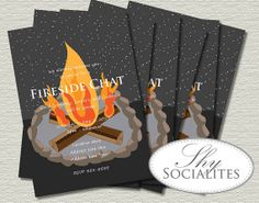 Bonfire Printable Invitations | Birthday Parties, Showers, Camp Outs, Cocktail Parties | Fire Pit, S'mores, Night Sky, Stars | Print at Home...