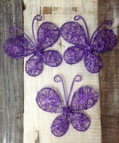Another great find on #zulily! Purple Large Wire Butterfly - Set of Three #zulilyfinds