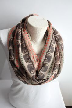 Sloth scarf is a great accessory for every day! Specially patterned infinity scarf with sloth printed chiffon fabric.  Measures Approximately :