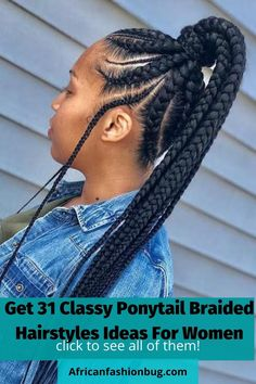 Box Braids Hairstyles, Two Cornrow Braids, Cornrows With Weave, Lemonade Braids Hairstyles, Weave Ponytail, Braided Ponytail Hairstyles, Braids With Beads, Twist Braids, Braid Hair