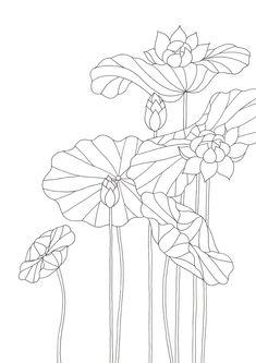 우리의 일상을 그림으로 가져온 모던민화. 그림을 보기만 하는것이 아니라 직접 체험하는 시간을 가져보며 일상 속에서 그림 그리기의 재미를 느껴보세요! Art Template, Flower Template, Watercolor Flowers, Watercolor Paintings, Coloring Books, Coloring Pages, Lotus Logo, Flower Line Drawings, Lotus Design