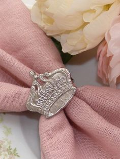 French Chic Silver Crown Napkin Rings Set of 4