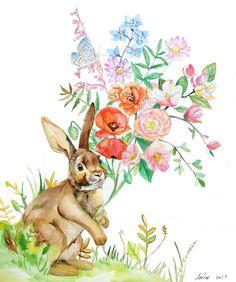 ooakOriginal Rabbit and flowers Illustration Art 10x12 by asho, $23.00