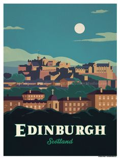 Vintage Poster Image of Edinburgh Poster - Size - Size includes a inch white border around the artwork. Digital Print on 80 lb cover matte white Physical poster does. Vintage Travel Posters, Vintage Postcards, Poster City, Tourism Poster, Railway Posters, Edinburgh Scotland, Edinburgh Travel, Edinburgh City, Travel Illustration