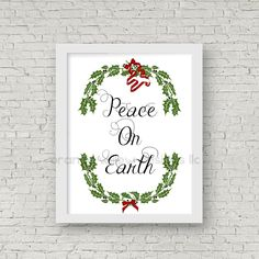 Peace on Earth Art Print 8x10 Printable Instant Download (184AOWD) mixed media and Typography Art Printable Christmas Holiday Art Print by OrangeWillowDesigns on Etsy