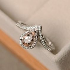 Morganite ring, pear cut, sterling silver, engagement ring
