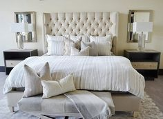 Bedroom with neutral bedding. Bedroom with tufted linen bed with neutral bedding and neutral paint color. #Neutralbedroom #neutralbedding #Neutralbedroompaintcolor Sita Montgomery Interiors