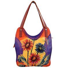 Genuine Leather Shoulder Bag Hand Painted Multi Color Flowers Shopper #ZINT #ShoulderBag