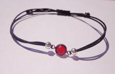 Dainty Red Swarovski Crystal bracelet on adjustable black thread   for a Simply Subtle Summer!