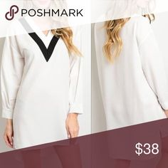 ♨️Coming soon‼️ Chic high low white dress😍 Made in USA. 100% polyester. This dress is super cute and the black detail around the v neck is super flattering. Dresses High Low
