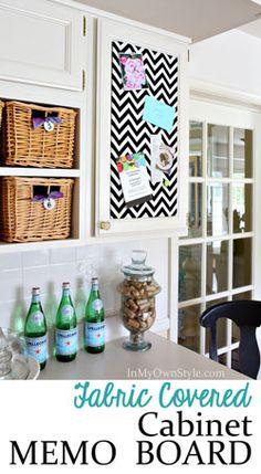 Kitchen Cabinet Decorating Idea using fabric to make a Memo Board