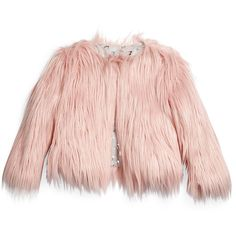 Appaman Open-Front Faux-Fur Coat ($130) ❤ liked on Polyvore featuring outerwear, coats and cameo pink