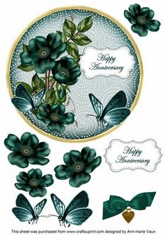 Peacock Wild Rose Anniversary 7in Circle Decoupage Topper on Craftsuprint - Add To Basket!
