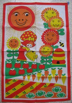 Sunshine garden tea towel.