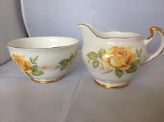 Crown Regent milk jug and sugar bowl roses decoration Rose Decor, Milk Jug, Sugar Bowl, Bowl Set, Roses, Crown, Decoration, Unique Jewelry, Handmade Gifts