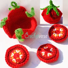 """Offered is my pattern to create this adorable and unique """"SLICEABLE Tomato"""", opens to reveal slices!"""