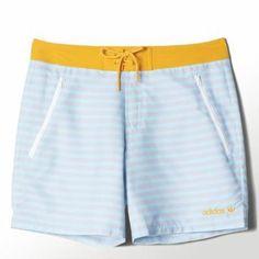 adidas Stripe Swim Shorts L Blush Blue / Collegiate Gold #swimwear #adidas #beachtrip #vacation #sunny #covetme