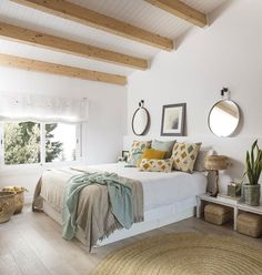 〚 Cozy designer's home in Barcelona 〛 ◾ Photos ◾ Ideas ◾ Design #country #bedroom #beams #interior #design #homedecor #home #decor #interiordesign #idea #inspiration #cozy #living #space #style