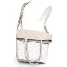 Beige csipkés 2in1 textilbőr táska