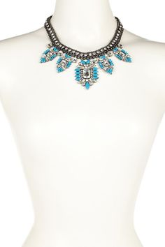 Blue Brooch Crystal & Resin Statement Necklace